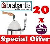 20 x 10-12L Litre Brabantia Smartfix Bin Liners Waste Bags Sacks Type C 2.2-2.6 UK Gal