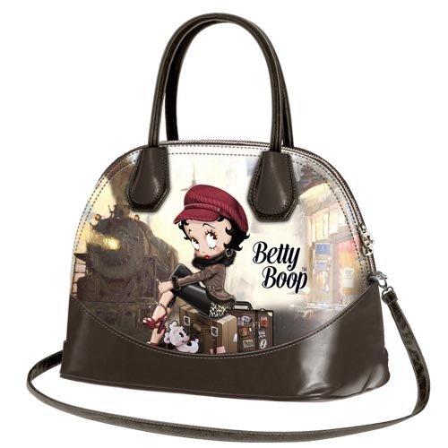 Betty Boop Train Bauletto da Donna Bambina Ragazza Mini Bugatti Borsa a Spalla a Mano a Tracolla Scuola Tempo Libero Viaggio Beige