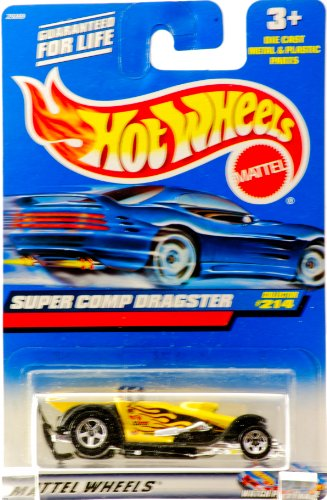 2000 - Mattel - Hot Wheels - Collector #214 - Super Comp Dragster - Yellow / #5 Black & Red Flames Graphics - Rear Wheels Larger - 5 Spoke Wheels - Thailand Base - New - Out of Production - Limited Edition - Collectible