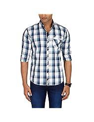 Sleek Line Men's Banded Collar Cotton Shirt - B00TRU7PMK