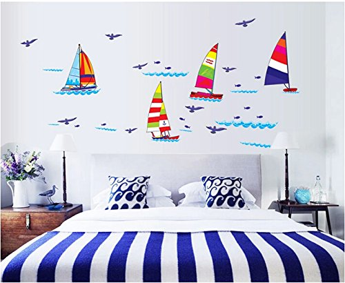 Eden Art-Diy Home Decor Art Removable Wall Decal Romantic Living Room Bedroom Bathroom Sailing Wall Stickers #Wm280