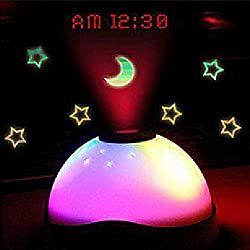 COFFLED Cute Digital Alarm Clock with Luminous Moons and Stars Projection for Children