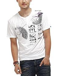 Chlorophile Men's Henley Cotton T-Shirt (Egn_White_Large)