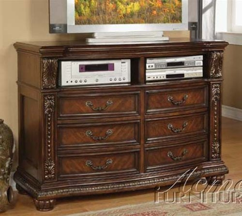Tv Console With Carved Accents In Brown Cherry Finish front-1036691