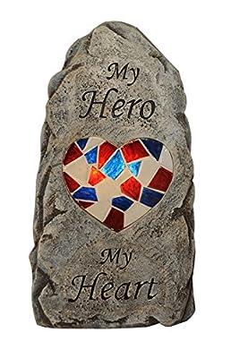Moonrays 91555 Solar Powered White LED My Hero Memorial Stone