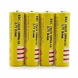 4Pcs 3.7V E-shinre 18650 5000mah Rechargeable Lithium Battery for flashlights &headlamps (Color: Yellow)