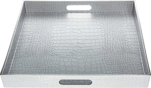 Fantastic:)® Square Alligator Serving Tray with Matte Finish Design (1, Square Alligator Silver)