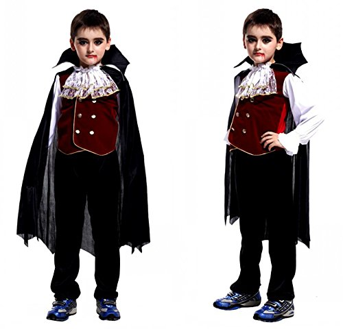 Children's Costume Kit Include Tops Pants and Cloak, Halloween Cosplay Costume for Kids, Fancy Dress for Costume Ball (Vampire Counts)