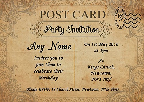 Classic Vintage Shabby Chic Postcard Personalized Birthday Party Invitations