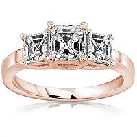 1.48 Carat 3 Stone Asscher Cut Diamond Engagement Ring (D Color VVS2 Clarity) from Houston Diamond District