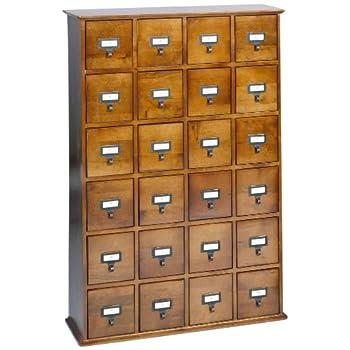 LDE LESLIE DAME Leslie Dame CD-456W Solid Oak Library Card File Media Cabinet, 24 Drawers, Walnut