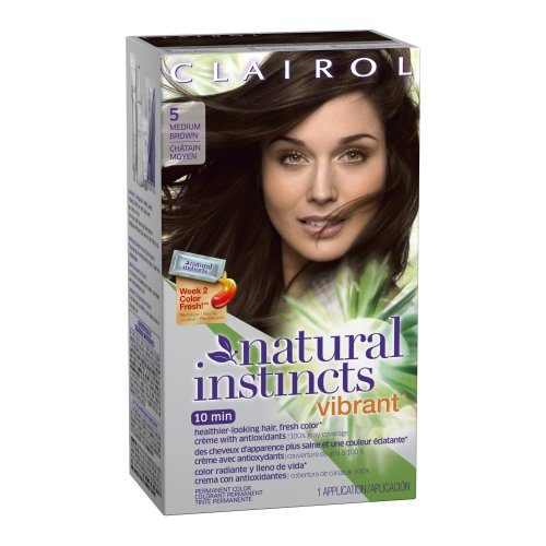 Clairol Natural Instincts Vibrant Permanent Hair Color 5, Coffee Boost, Medium Brown 1 Kit front-80396
