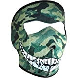 ZANheadgear Neoprene 'Woodland Camo Print with Teeth' Design Face Mask (Multicolor, One Size)