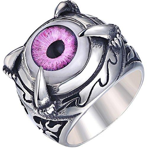 VALYRIA ジュエリー ファッション アクセサリー メンズ リング 指輪, バイカーズ トライバル ドラゴン クロー 龍爪 悪魔 目 アイ, ステンレス, カラー:紫色; シルバー(銀);[ギフトバッグを提供] - [18号]
