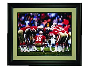 Joe Montana in the Huddle Framed 16x 20 Photo by Champion