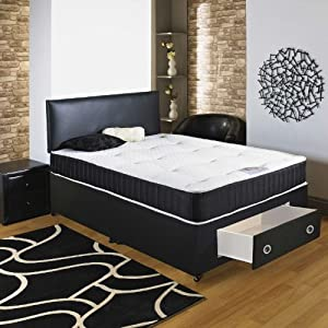 Hf4you chester 22cm deep tufted divan bed 4ft6 double for Double divan bed with drawers and headboard