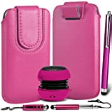 N4U Online Premium PU Leather Pull Flip Tab Case Cover Pouch With Magnetic Strap Closure , Mini Portable Speaker & 3 Pack Stylus Pen Bundle For LG Optimus L1 II E410 - Hot Pink