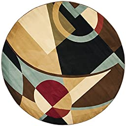 Safavieh Porcello Collection PRL6845-9091 Modern Abstract Art Black and Multi Round Area Rug (5\' Diameter)