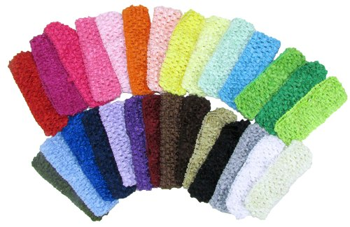 "1 1/2"" Crochet Headbands Assorted 28 Variety Pack For Babies Infants And Toddlers front-84971"