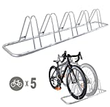 5 Bike Bicycle Floor Parking Rack Storage Stand