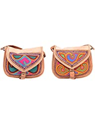 Aryan Exports Girls' Sling Bag (Multi-Colour, Set Of 2, Abc_384)