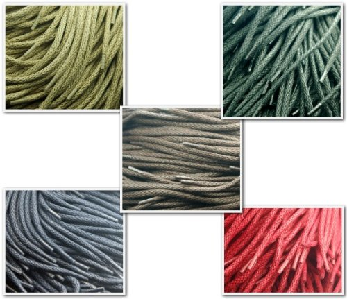 Round Cord 5mm Waxed Cotton Hiking Walking Work Boots Laces