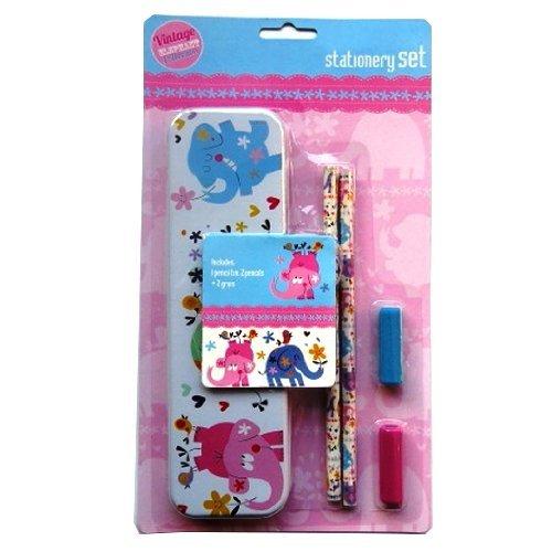 Set cartoleria per ragazza con custodia, 2 matite e 2 impugnature in gomma, design: elefante