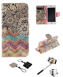 iPhone 6 Plus/6S Plus Wallet Case , Castle Cas [Wave Flower] Duplex Design Flip Card Slot Slim Fit Magnetic Premium Polyurethane Leather TPU Cover Case With Selfie Stick - Color