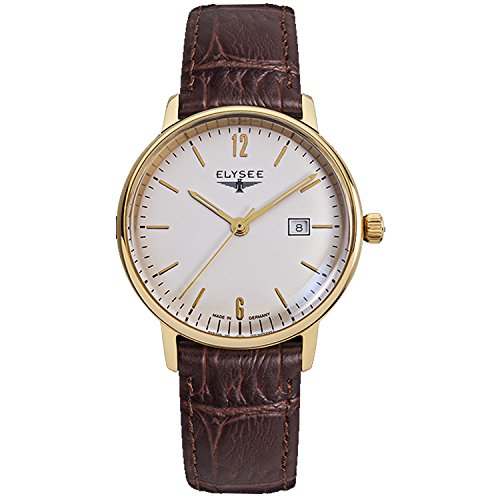 ELYSEE Made in Germany Sithon Lady 13286 32mm Gold Plated Stainless Steel Case Brown Calfskin Mineral Women's Watch