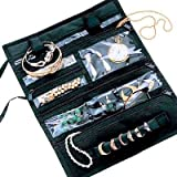 Travel Jewelry Portable Roll Case Pvc Black Microfiber - Household Essentials #6904