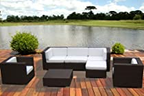 Big Sale Outdoor PE Resin Wicker Patio Furniture All Weather 7pc Vila Deep Seating New Sectional Sofa Set