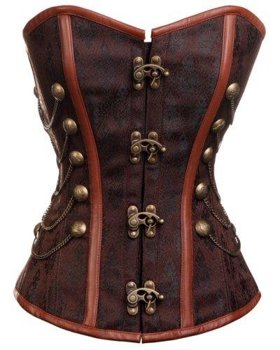 CD-231 - Brown Steampunk Style Overbust Corset with Chain and Stud Detail - 26