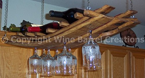 Hanging Wine Bottle and Glass Rack 16+ Made From Oak Wine Barrel Staves