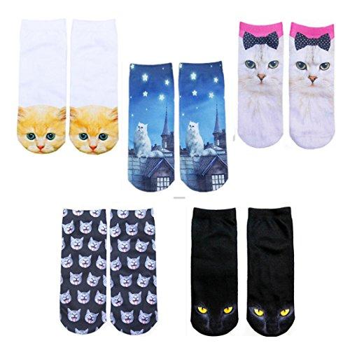 HWHColor ragazze sveglie dei calzini 3D Stampato buffo gatto Socks Confezione da 5 Cavigliera Calze