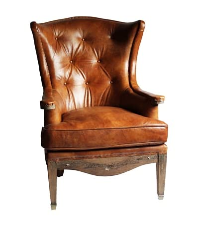 Melange Home Sterling Top Grain Leather Armchair, Whiskey Brown