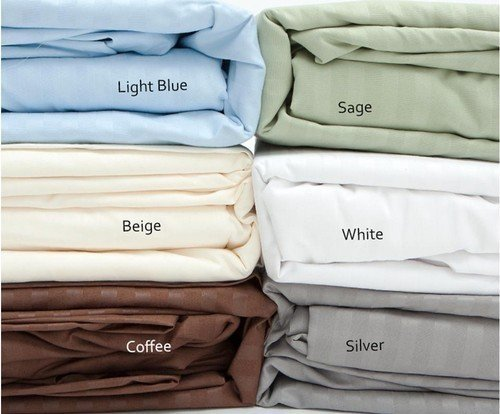 Queen Size Silver Classic Sateen Dobby Stripe Sheet Set
