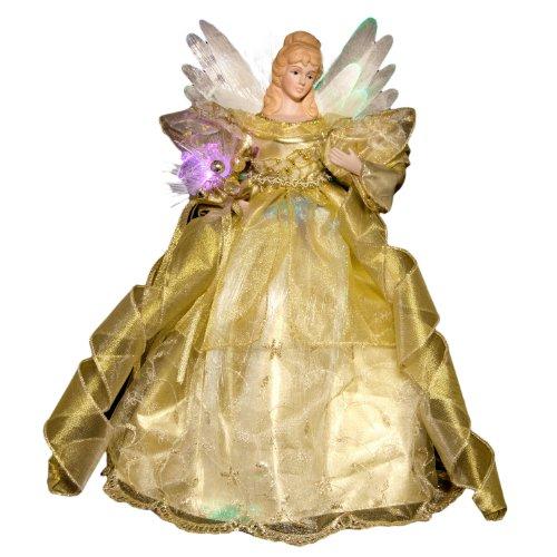 """Sterling 16"""" Gold Led Fiber Optic Angel Tree Topper"""