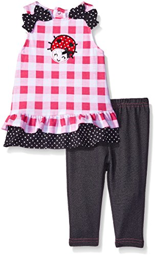 BON BEBE Baby 2 Piece Top with Jegging Set, Ladybug, 3-6 Months