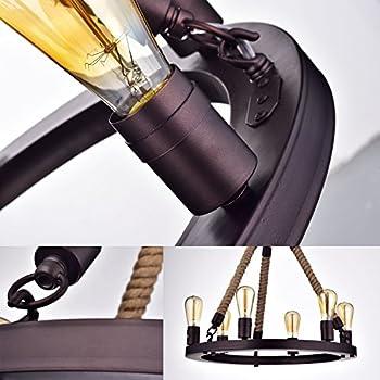 CLAXY® Ecopower Vintage Metal & Rope 6-lights Pendant Lighting Chandelier