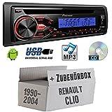 RENAULT CLIO 1+ 2-Pioneer deh1800ubb-Kit de montage autoradio CD/MP3/USB -