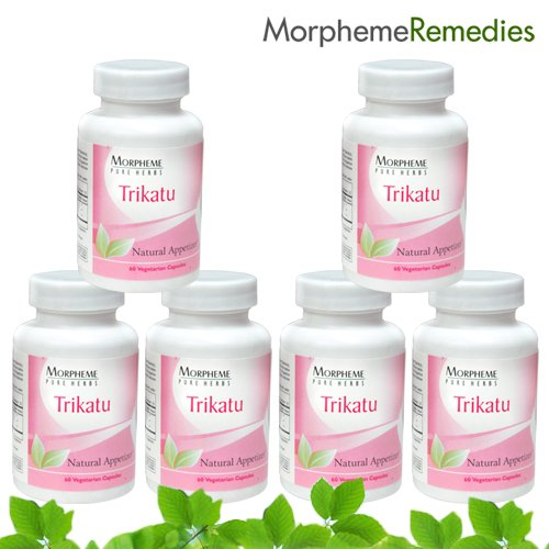 Morpheme Trikatu Supplements For Appetizer & Digestive System - 500Mg Extract - 60 Veg Capsules - 6 Combo Pack