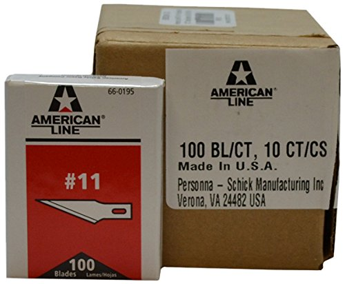 "American Line 66-0195CS #11 Hobby Carbon Blades, 0.021"", 10 Boxes per Case (Pack of 1000)"