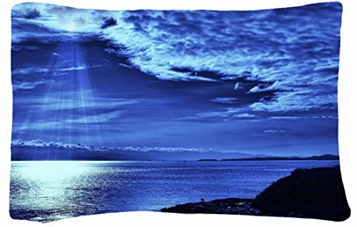 Microfiber Peach Standard Soft And Silky Decorative Pillow Case (20 * 26 Inch) - Nature Light Skys Beams Images Clouds From Above Dark Blue Evening Sea People front-848590