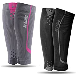 Graduated Compression Sleeves by Thirty48 Cp Series ,2 Pk F.Pink/Gray - Black/Gray ,Medium