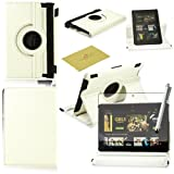 Fulland Colorful 360 Rotating Flip Leather Case Cover for Amazon Kindle Fire HDX 7.0 (2013 Version) with Smart Auto Wake/Sleep Function plus Stylus Touch Screen Pen and Screen Protector-White