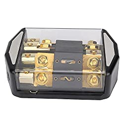 See Gold Plated Distribution Block 1x0 Gauge Input to 4x4 awg Ouput For Car Power Details