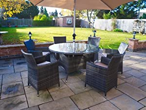 Melbourne Outdoor Patio Furniture: Round Dining Table & 6 Chairs with Parasol from Whitaker Cane Furniture
