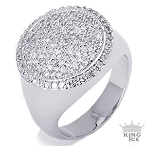 Circle of Power Silver Plated CZ Hip Hop Ring - Size 10