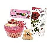 Skylofts Lovely Chocolate Basket With A Cute Teddy, A Love Card & Love Key Ring