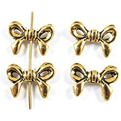 TierraCast Pewter Ribbon Beads-GOLD BOW (4)
